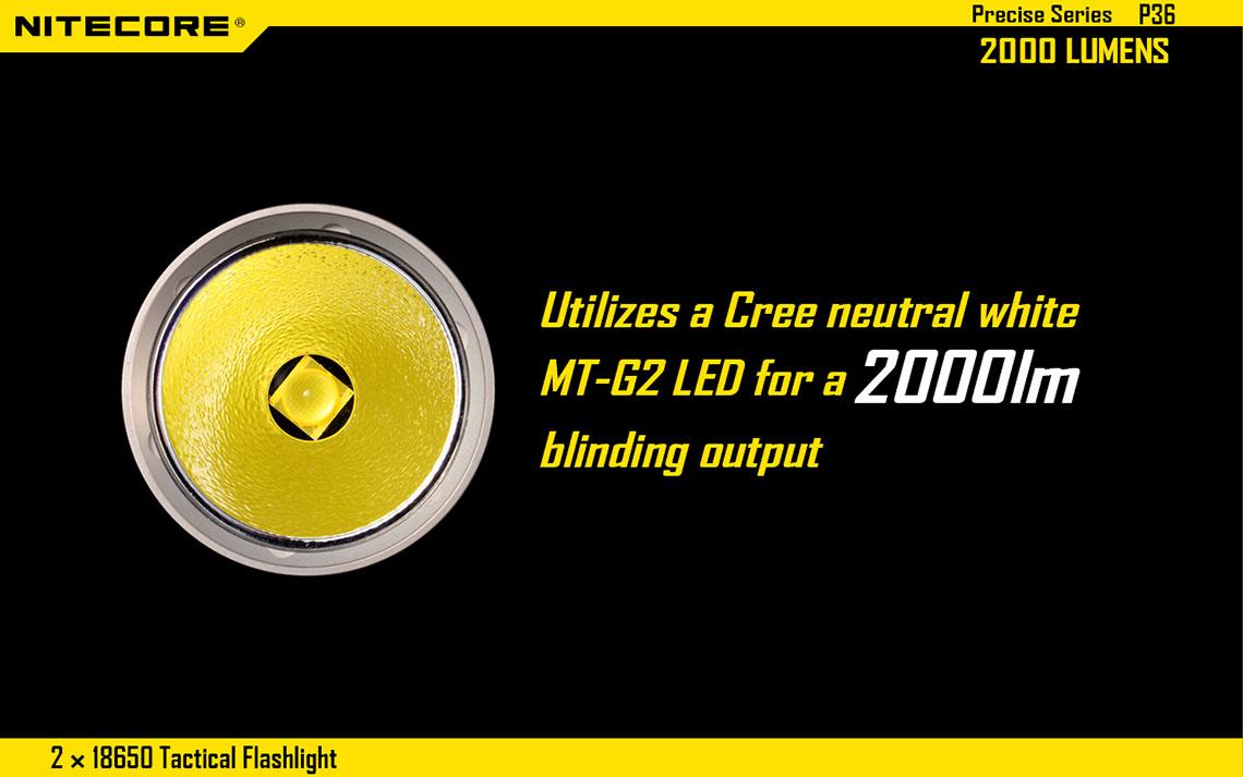 2000 Torche Mt Lumens Cree G2 Lampe P36 Nitecore Led 0k8PnwNOX