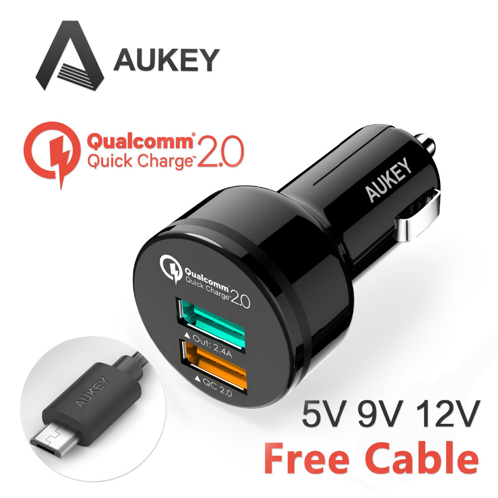 Aukey Cc T1 2 Port 30w Usb Car Charger With Quick Charge 20 Pa U28 Turbo 18w Fastcharging Details Main Features Adopts Aipower And Qualcomm Technology 24a Fast Charging